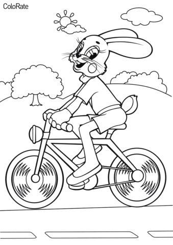 Велосипеды распечатать раскраску - Зайчик на велосипеде