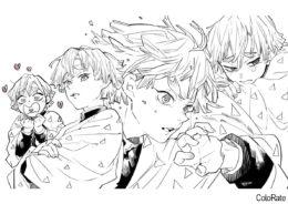 Разукрашка Зеницу распечатать на А4 - Раскраски из аниме «Клинок, рассекающий демонов»