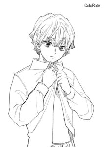 Зеницу Агацума бесплатная раскраска - Раскраски из аниме «Клинок, рассекающий демонов»