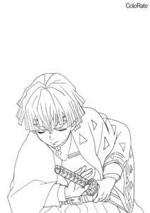 Разукрашка Зеницу идет в бой распечатать на А4 - Раскраски из аниме «Клинок, рассекающий демонов»
