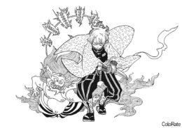 Бесплатная раскраска Зеницу тоже бывает крут распечатать и скачать - Раскраски из аниме «Клинок, рассекающий демонов»