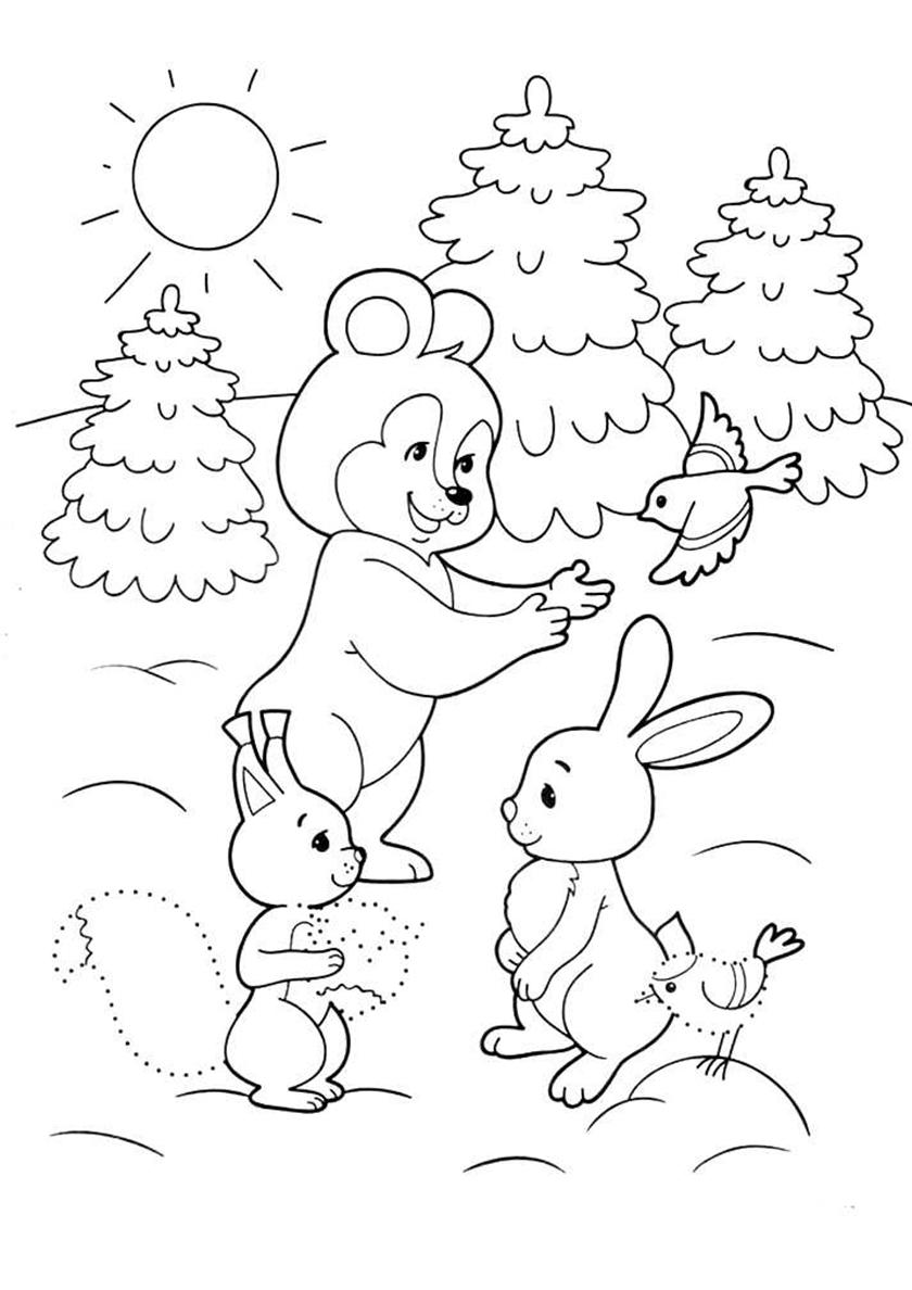 Раскраска Зимнее утро в лесу распечатать | Зима