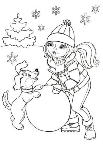 Зимние игры с собачкой - Зима распечатать раскраску на А4