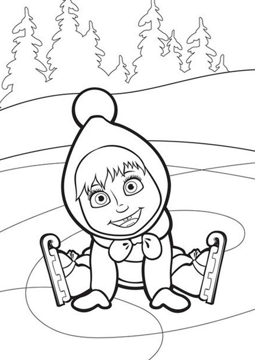 раскраски для детей зимние забавы ~ распечатать бесплатно | 1188x840