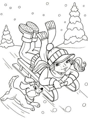 Зимнии забавы собак - Зима бесплатная раскраска