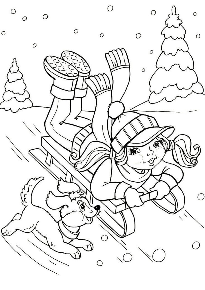 Раскраска Зимнии забавы собак распечатать | Зима