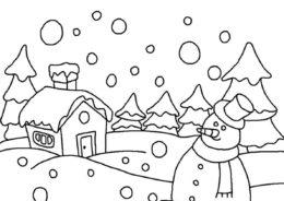 Раскраска Зимний домик снеговика распечатать на А4 - Зима