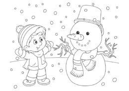 Зимняя встреча со снеговиком - Зима распечатать раскраску на А4