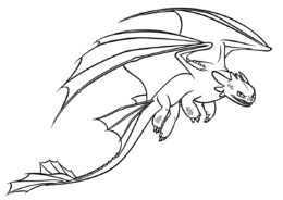 Злобная Ночная Фурия раскраска распечатать на А4 - Драконы