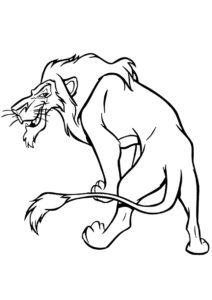 Злобная ухмылка Шрама (Король Лев) разукрашка для печати на А4