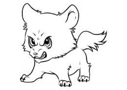 Злой волчонок - Волки раскраска распечатать на А4