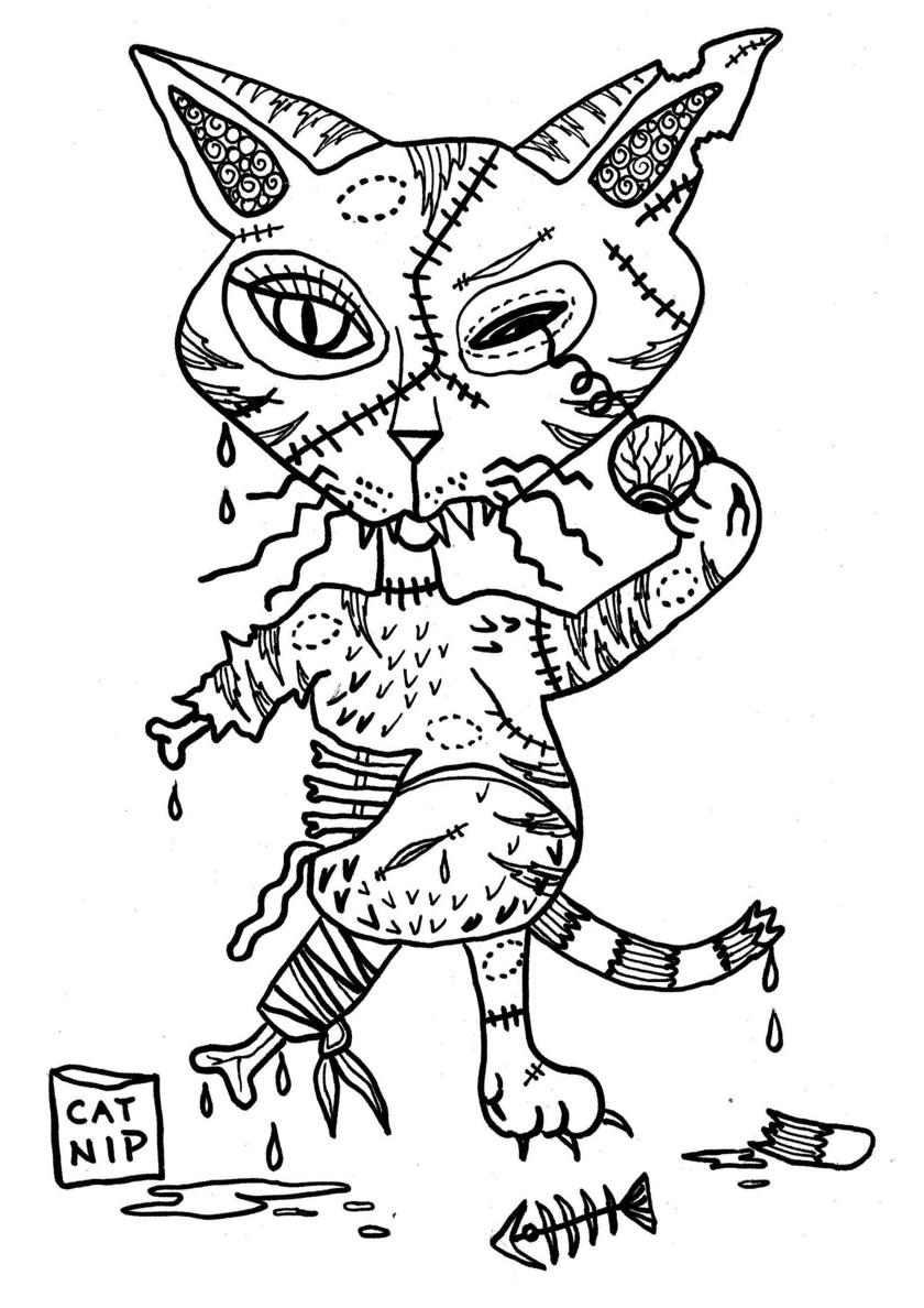 Раскраска Зомби кот распечатать   Коты, кошки, котята