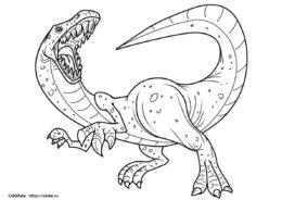 Бесплатная раскраска Зубастый ящер распечатать на А4 и скачать - Динозавры