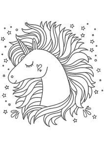 Единороги распечатать раскраску - Звездная грива